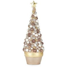 Dekorasyon Gifts & Decor Bolsie Cone Tree Figurine (£32) ❤ liked on Polyvore featuring home, home decor and gold