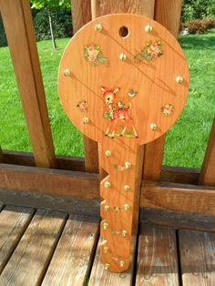 Vintage Mid Century Wooden Key Holder with Appliques by KathiJanes, $11.95