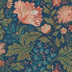 Ava wallpaper from Sandberg - - Dark Blue Dark Blue Wallpaper, Blue Wallpapers, New Wallpaper, Photo Wallpaper, Art Nouveau, Drops Patterns, Bathroom Wallpaper, William Morris, Designer Wallpaper
