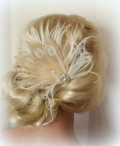 Champagne Ivory Feather Fascinator Wedding Hair by kathyjohnson3