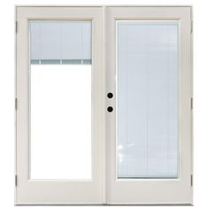 MasterPiece 59-1/4 in. x 79-1/2 in. Fiberglass White Right-Hand Outswing Hinged Patio Door with Blinds Between Glass, Smooth White Interior And Exterior
