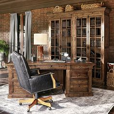 Corbel Executive Desk in Barnwood Brown