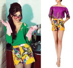 Sexy summer style. Actress Soha Ali Khan in Hemant and Nandita ochre print shorts.