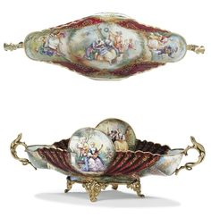 VIENNESE SILVER AND ENAMEL COMPOTE LATE 19TH CENTURY