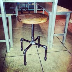 DIY stool made from pipe and wood