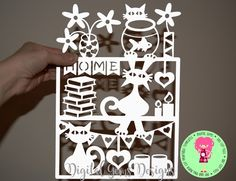 Naughty Cats At Home Papercut Template. SVG / DXF Cutting Files For Silhouette/ Cricut, & PDF Printable Files For Hand Cutting by DigitalGems on Etsy
