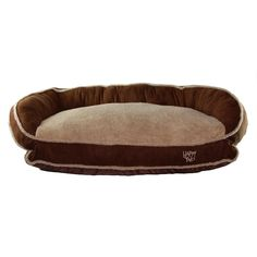 Happy Tails Micro suede Bolster Bed for Pets, 35 by 24-Inch, Brown ** To view further for this item, visit the image link.