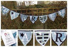 Blue stars and stripes handmade crochet bunting for Gabriel