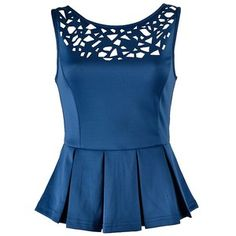 LASER CUT-OUT PEPLUM TOP