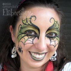 Halloween Face Paint spider / spin schmink gepind door www.hierishetfeest.com