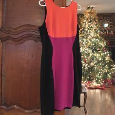 Dress Orange and purple color block dress. Zips in back J. Taylor Dresses Midi