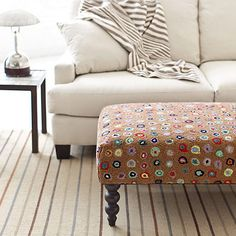 Get on the hot seat with our back-by-popular-demand rug ottomans, shipped for free! Cushioned bench topped with a smashing Dash & Albert wool hooked rug, with eye-catching turned wood legs. Free shipping for ottomans is only available in the contiguous U.S.