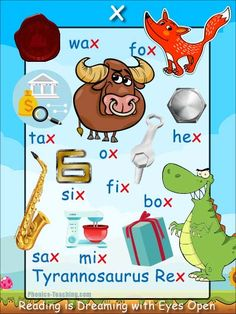 x phonics sound - FREE PRINTABLE phonics poster for auditory discrimination, sound studies, vocabulary and classroom reference.