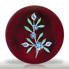 Francis Whittemore blue complex cane flowers paperweight.(251) images