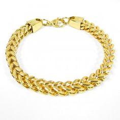 Fiche produit de la gourmette tressée dorée Collier D'ambre, Bracelets, Gold, Jewelry, Fashion, Coin Purses, Braid, Bangle Bracelets, Jewellery Making