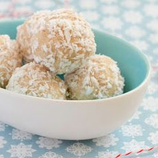 Coconut Snowballs made with coconut oil, shredded coconut, coconut milk and a couple more ingredients...VII Recipe