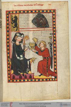 Codex Manesse, Herr Konrad, der Schenk von Landeck, Fol 205r, c. 1304-1340
