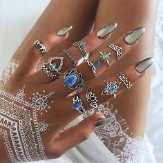 Boho Jewelry, Silver Jewelry, Fine Jewelry, Fashion Jewelry, Silver Ring, Indian Jewelry, Silver Metal, Jewelry Sets, Fashion Accessories