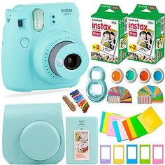 FujiFilm Instax Mini 9 Instant Camera Fuji Instax Film 40 Sheets Accessories Bundle Carrying Case Color Filters 2 Photo Albums Assorted Frames Selfie Lens MORE Ice Blue >>> Check this useful article by going to the link at the image. Polaroid Instax Mini, Instax Mini 9, Instax Film, Fujifilm Instax Mini, Fuji Instax, Fuji Camera, Camera Case, Camera Accessories, Photo Equipment