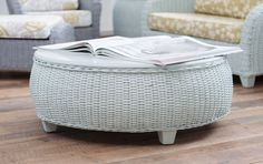 Esther Coffee Table in Bluebell | Maine Cottage #wickerfurniture