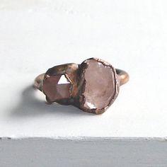 Raw Crystal Quartz Ring Gemstone Statement Ring Size 6.5 Pink Cocktail Ring Phantom Artisan Electroform Ring Jewelry Handmade