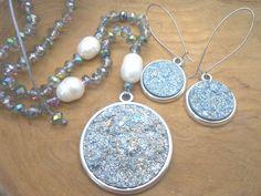 Set Druzy Polaris cabochons Goldstein Deep Teal Blue - Barok parels - Swarovski style kristal facet kralen- handgeknoopt