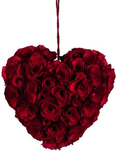 Red Rosette Heart: This heart is crafted of dyed, wood shavings, shaped to form rosettes.