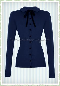 Collectif 40er Jahre Vintage Cardigan Strickjacke - Andi - Blau Schwarz