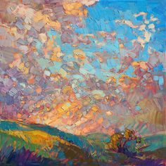 Dramatic sky painting by modern impressionist and landscape artist Erin Hanson