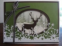 Winter card with Memory box deer and frostyville snow border dies ...
