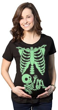 9c290ed7974fe Maternity Skeleton Baby T Shirt Halloween Costume Funny Pregnancy Tee For  Mothers Glow L **