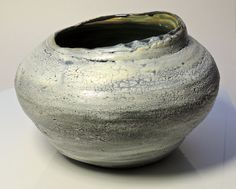 White Ceramic Pot Textured Round Abstract Pottery by PrimitivePots