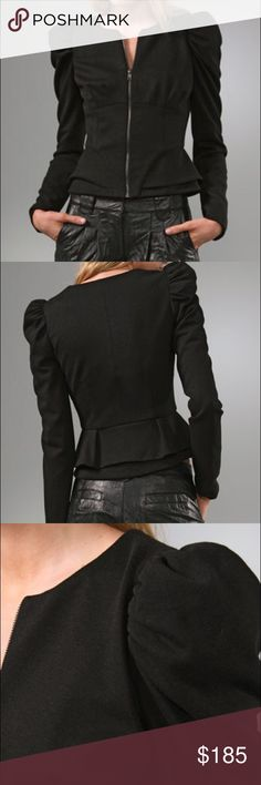 Torn by Ronny kobo This crew-neck jacket features an exposed front zip and a pleated peplum. Seam details at bodice. Ruching and structured lining at shoulders. Long puff sleeves.  * Fabrication: Mid-weight jersey. * Shell: 60% rayon/33% nylon/7% spandex. * Lining: 100% polyester. * Dry clean. Color gray first pictures only to show how beautiful this jacket looks, size small Torn by Ronny Kobo Jackets & Coats