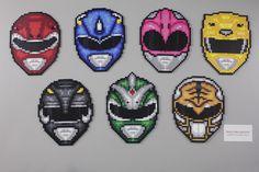 Go Go Power Rangers! You Mighty Morphin Power Rangers! Perler Bead Templates, Pearler Bead Patterns, Diy Perler Beads, Perler Bead Art, Perler Patterns, Beaded Cross Stitch, Cross Stitch Patterns, Power Rangers, Pixel Art
