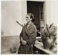Frida Kahlo in her garden at Coyoacán, 1952