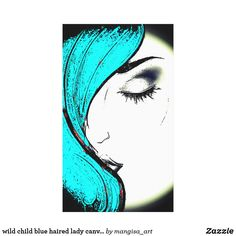 wild child blue haired lady canvas