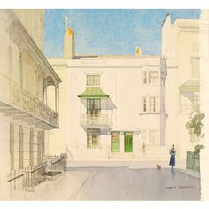 Regency Brighton, Houses in Russell Square, by Charles Knight Watercolour 1940 Brighton Belle, Brighton Rock, Brighton Houses, Brighton And Hove, Russell Square, Architecture Drawings, Victoria And Albert Museum, East Sussex, Western Art