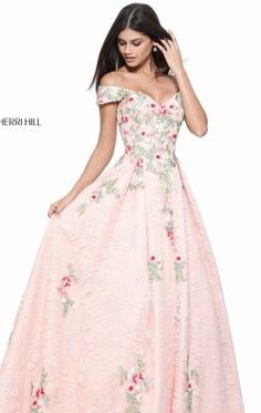 1055207048e9 Off-The-Shoulder Lace Ball Gown by Sherri Hill 51189 Floral Spring Dresses
