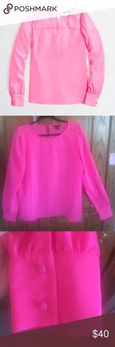 🎉HP J.Crew Boatneck Blouse Hot Neon Pink Silky M 🎉SALE 🎉HOST PICK🎉 J.Crew Boatneck Blouse. Size Medium. Neon Azalea Hot Pink Color. Long sleeve, lightweight, button detail on sleeve ends, key hole on back. Pretty. Pleated. Perfect.  This is the piece that instantly elevates anything you pair it with—from colorful denim to swingy skirts. Poly. Machine wash. In very good condition. J. Crew Tops Blouses