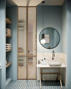 Simple bathroom with tall doors. Bathroom design ideas are very attractive. For those of you who are looking for inspiration for a luxurious, modern bathroom design, to a simple bathroom design. Bathroom Doors, Bathroom Flooring, Bathroom Closet, Bathroom Storage, Bathroom Sinks, Bathroom Shelves, Master Bathroom, Bathroom Lighting, Bathroom Cabinets