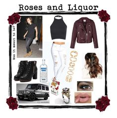 """""""Roses and Liquor"""" by queenmckagan ❤ liked on Polyvore featuring Boohoo, Reiss, Forever 21, Mercedes-Benz, Suzywan DELUXE and harrystyles"""