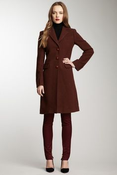 D Wool Long Sleeve Coat by RED Valentino