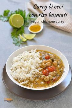 Chickpea curry with basmati rice and coconut milk- Chickpea curry with basmati rice and coconut milk – vegan chickpea curry - Wine Recipes, Asian Recipes, Ethnic Recipes, Irish Recipes, Vegan Chickpea Curry, Chicken Chickpea, Vegetarian Curry, Vegetarian Recipes, Healthy Recipes