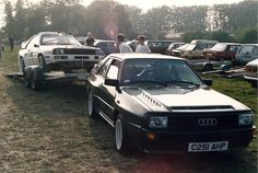 How sick is that? A quattro hauling a rally quattro. #Audipower #GroupB