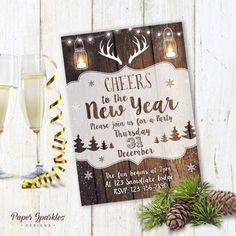 Rustic NYE invitation, New Years Eve invitation, NYE invitation, rustic invitation, rustic party invite, christmas invite, printable invite