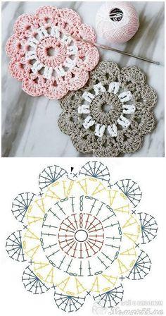 New Photo Crochet flowers mandala Thoughts (notitle) – Häkeln ideen – Crochet Coaster Pattern, Crochet Square Patterns, Crochet Flower Patterns, Crochet Chart, Crochet Squares, Crochet Designs, Crochet Flowers, Knitting Patterns, Knit Crochet