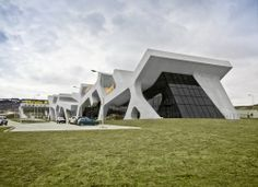 Completed in 2012 in Russia. Images by Jesko M. In the head of the Roads Department of Georgia commissioned J. Mayer H. to design a system of 20 rest stops for the new highway, a. Unique Buildings, Old Buildings, Art And Architecture, Architecture Details, Georgia, Arch Building, Rest Area, Concrete Structure, Dezeen