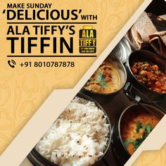 Bored of lazing around and want to #eat something #tasty? Make your day #delicious by ordering Alatiffy Tiffin.