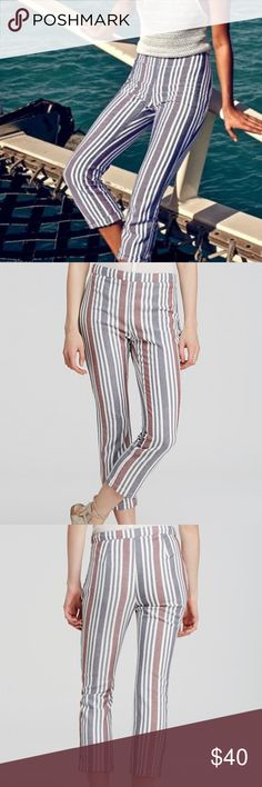 "NWT Free People Striped Crop Pants A high waistline and calf-cropped hems enhance the streamlined silhouette of comfy stripe trousers woven from a stretchy blend of linen and cotton.  Banded waist, concealed side zip closure, striped, cropped 55% linen, 43% cotton, 2% spandex  Hand wash cold, line dry  Approximate Measurements: Waist: 28"" Rise: 10"" Inseam: 27.5"" Free People Pants Ankle & Cropped"