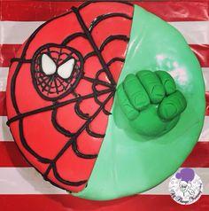Themed Cakes - Spiderman and Hulk Themed Cake | All Things Yummy #spiderman #hulk #spidermancake #cake #superheroes #superherocake #hulkfist #thehulk #spidermanmask #mask #superheroes #spiderweb #atyummy #customisedcake #customcake #designercake #baked